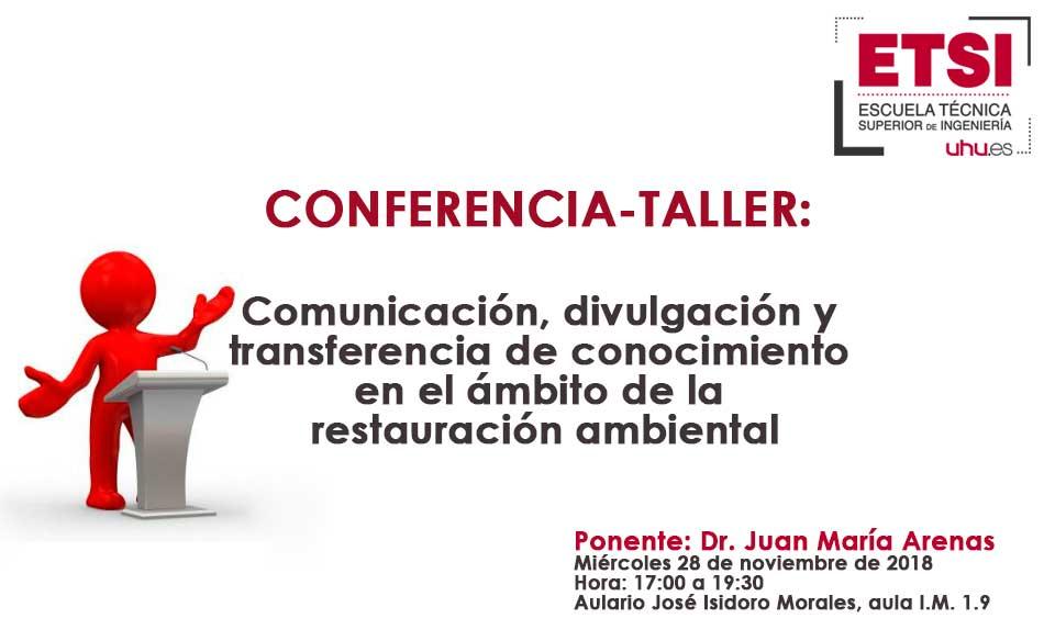 Conferencia-taller en ETSI-UHU, impartida por Juan María Arenas, sobre comunicación, divulgación y transferencia del conocimiento en el ámbito de la restauración ambiental
