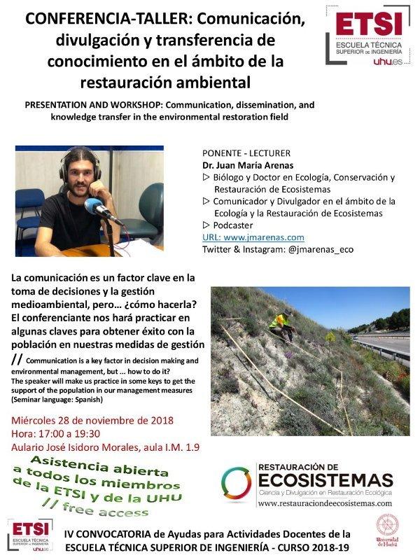 Conferencia taller en ETSI-UHU sobre comunicación, divulgación y transferencia del conocimiento en el ámbito de la gestión ambiental