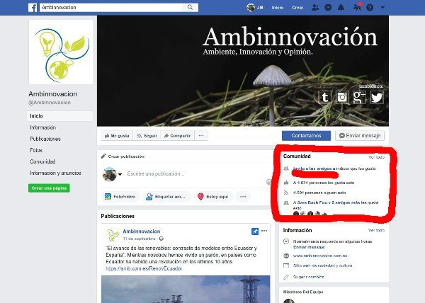 """Mostrar donde está el recuadro de """"Comunidad"""" para invitar a seguir página de Facebook"""